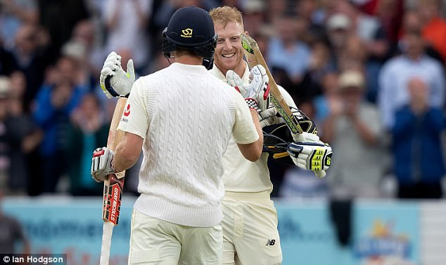 Ben Stokes enjoys his 100 against the West Indies on the first day of the second Test