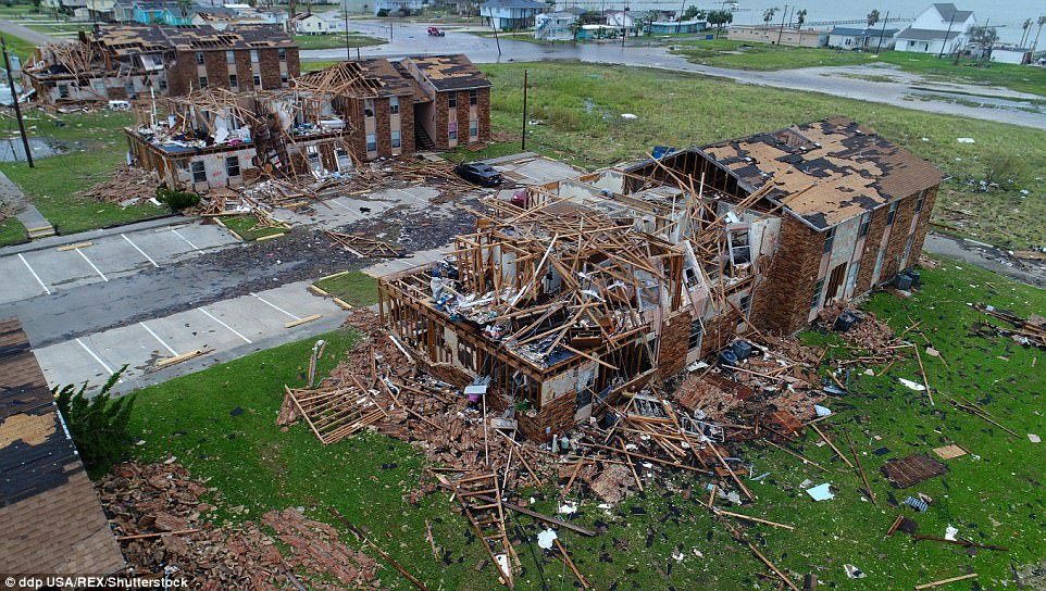 Salt Grass Landing Apartments in Rockport, Texas, were entirely destroyed in the hurricane. No residents were thought to have been inside the building when Harvey took hold