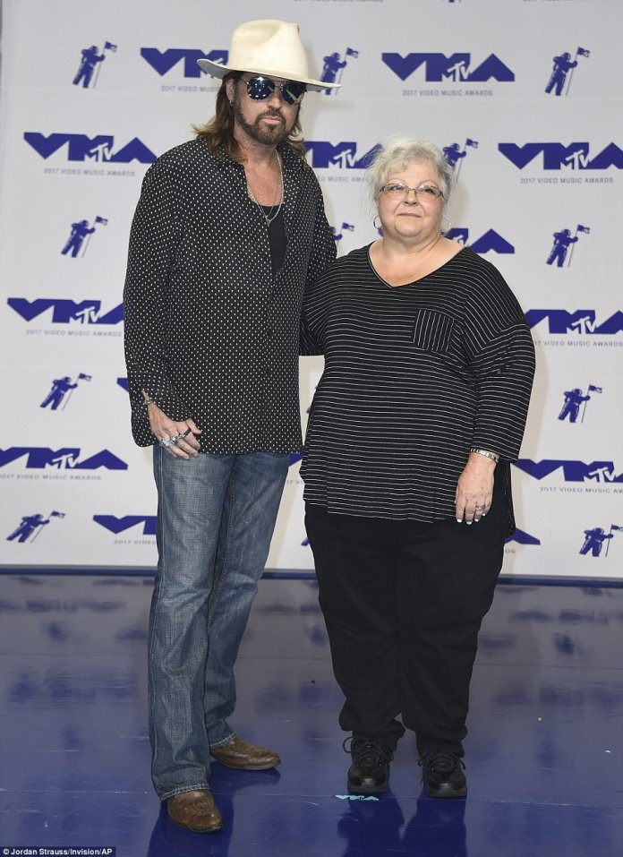 Touching: Billy Ray also posed with Susan Bro who is the mother of Heather Heyer, who tragically died at the rally in Charlottesville two weeks ago
