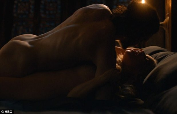 Bun-believable: Kit Harington as Jon/Aegon showed off his famous buttocks as the relationship took a new twist