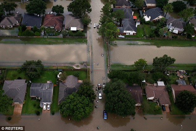 The city has also warned residents of scammers, posing as firefighters and Homeland Security special agents and telling people to evacuate in order to ransack their homes. Pictured above, houses are seen partially submerged in flood waters in Northwest Houston