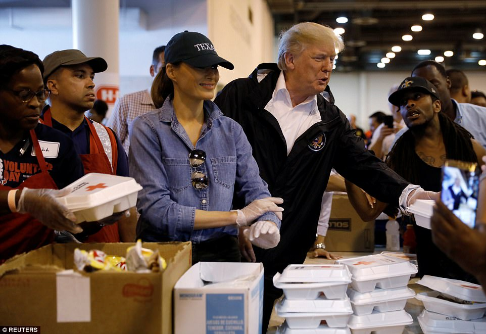 President Trump and Melania returned to the Lone Star State on Saturday, visiting with some of the thousands who were left homeless by the storm. The pair handed out food to a line of evacuees and took pictures with some fans who had lined up