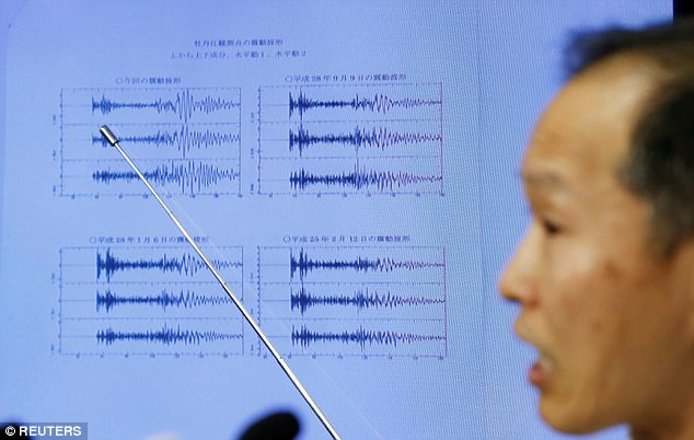 Japan Meteorological Agency's earthquake and tsunami observations division director Toshiyuki Matsumori points at graphs of ground motion waveform data observed in Japan during a news conference on Sunday following the earthquake felt in North Korea