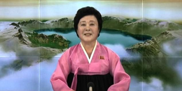 The announcement was delivered by news anchor, Ri Chun-hee (pictured during the announcement Sunday) - who has been making announcements on Korean Central Television for more than 40 years
