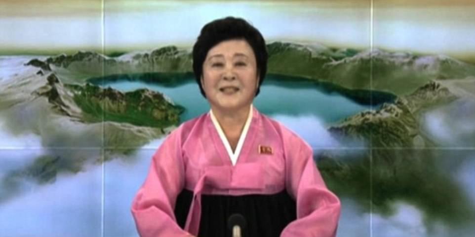 La detonación fue anunciada por el presentador de noticias Ri Chun-hee (foto), quien ha estado haciendo proclamas en la Televisión Central de Corea por más de 40 años