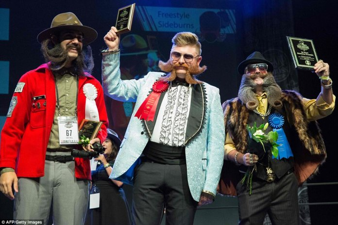 Nate Johnson, Steffen Rasile, and Cody Hall competed in the partial beard category