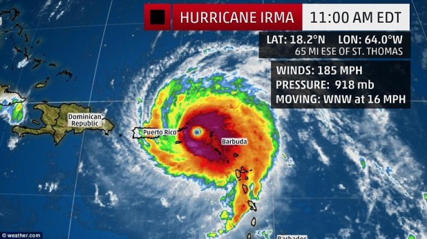 As of 11am Wednesday morning, Irma was inching closer to the U.S. territory of Puerto Rico