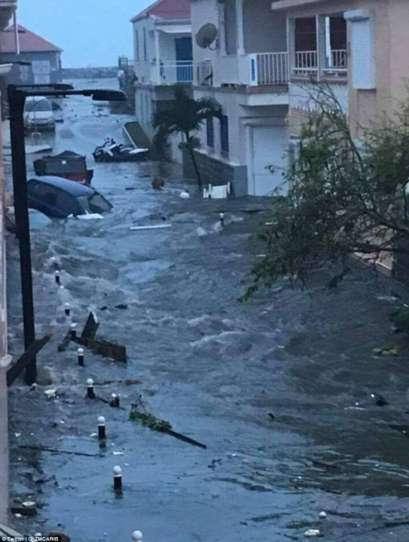 Dramatic pictures have emerged on social media showing the scale of the flooding on the island St Martin in the immediate aftermath of the storm passing