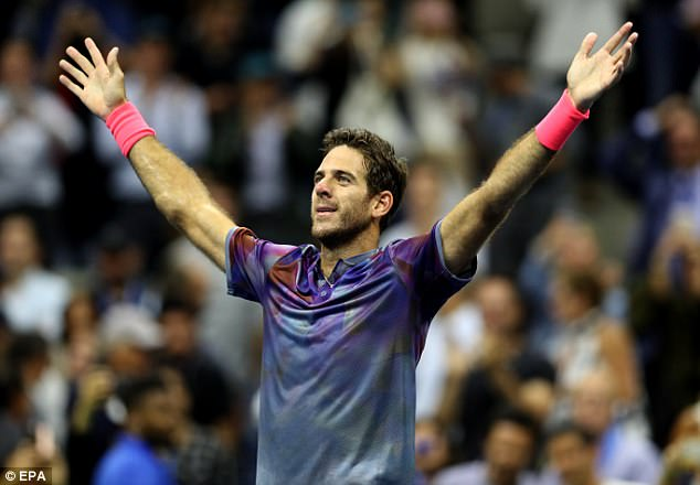 Juan Martin Del Potro celebrates after his four-set victory over Roger Federer at the US Open