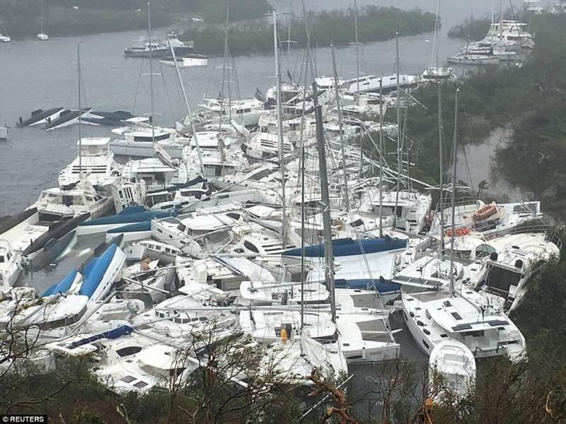 Boats piled up as the eye of Hurricane Irma passed over Tortola in British Virgin Islands on Wednesday