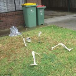 This skeleton garden 'monument' is simply frightful