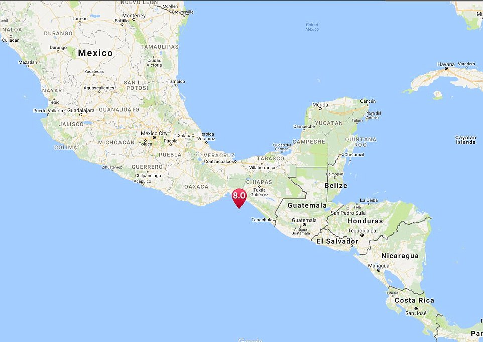 A massive 8.0 earthquake has struck 60 miles off the coast of Mexico and was felt across the country