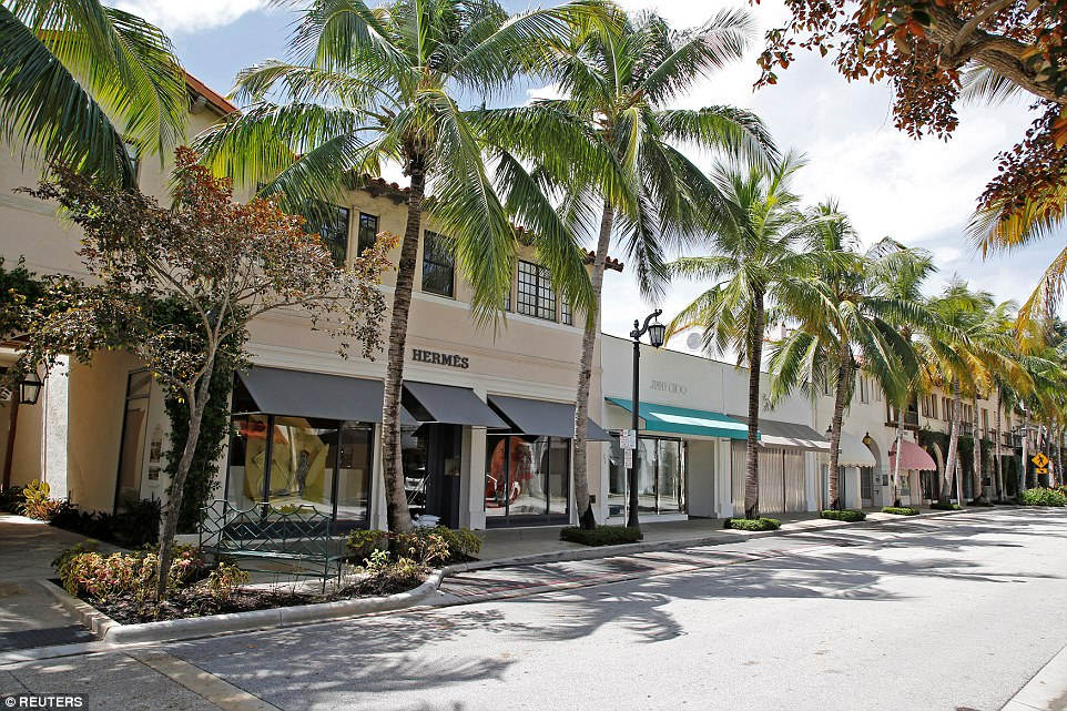 The Worth Avenue shopping district is shown after a mandatory evacuation order went into effect on the barrier island of Palm Beach, Florida on Friday