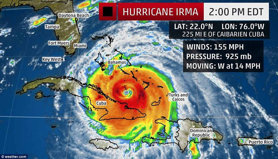 As of Friday, Irma was battering the northeast coast of Cuba, on a northwestern track that will see it pass the Bahamas as well