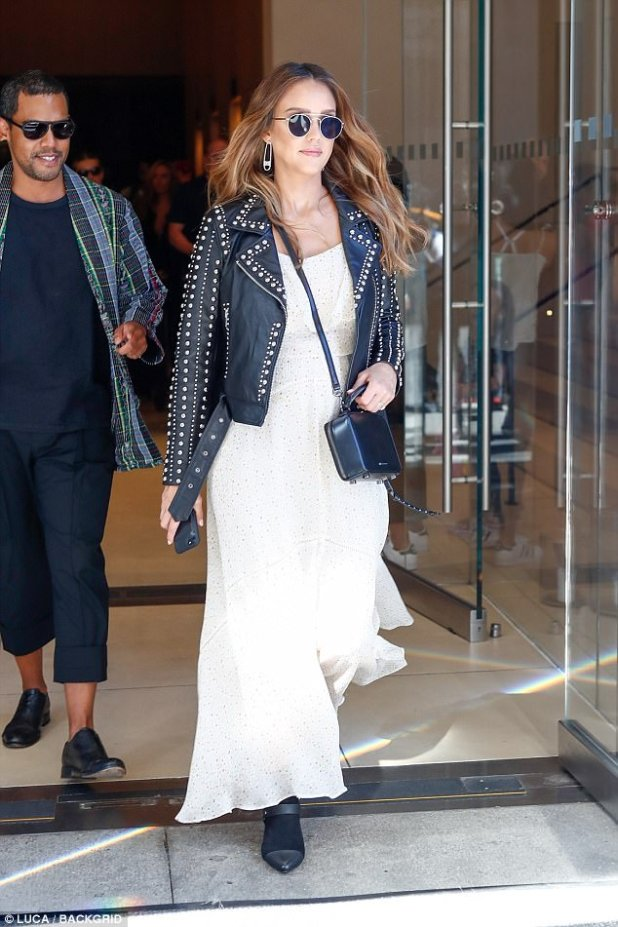 Rock momma: Jessica Alba was getting in touch with her inner rocker as she stepped out in New York City on Saturday