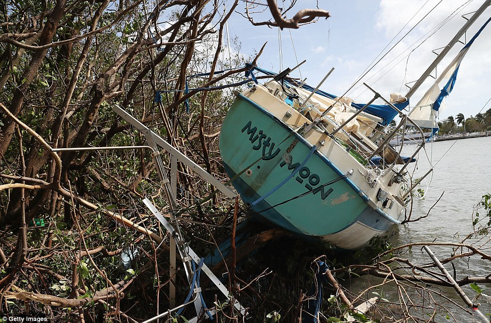 A boat is seen washed ashore at the Dinner Key marina after hurricane Irma passed through the area on September 11, 2017 in Miami, Florida