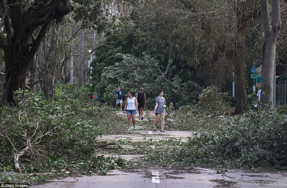 People walk around branches and trees that were downed when hurricane Irma passed through Miami, Florida on Monday