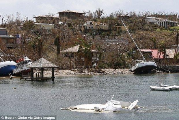 DEVASTATION: A sunken boat is seen in Great Cruz Bay on St. John in the US Virgin Islands on Sept. 12, 2017. The island was hit hard by Hurricane Irma