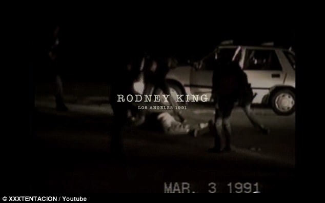 The video then flashed to Rodney King's brutal beating in Los Angeles in 1991