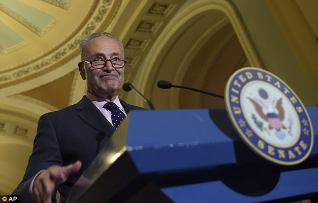 The White House initially said the president had had 'a constructive working dinner' with Schumer (pictured), Pelosi and administration officials
