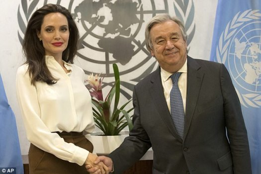 VIPs:The premiere of the Netflix film comes after Angelina met with United Nations Secretary General António Guterres at the Manhattan headquarters on Thursday