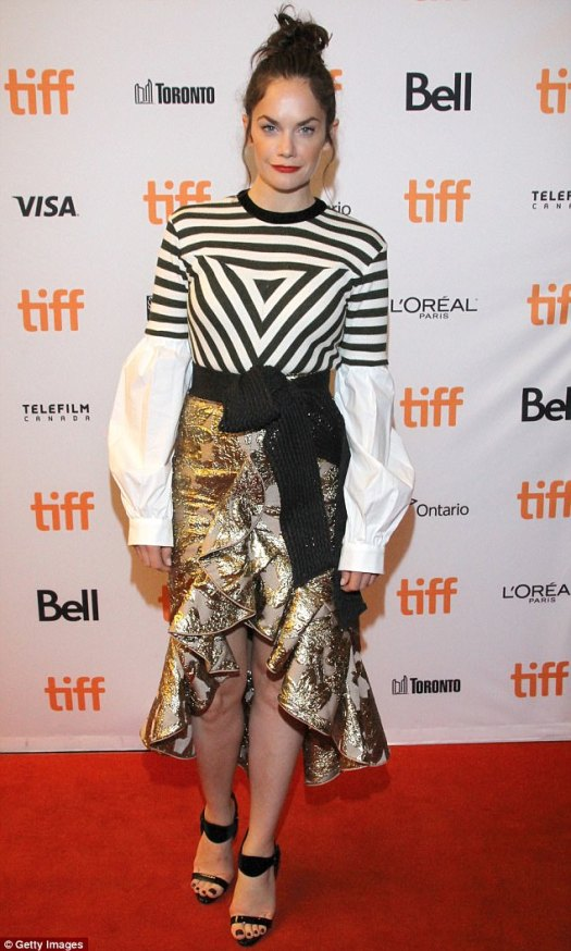 Style star: Ruth Wilson, 35, cut a stylish figure in a Johanna Ortiz look that featured a fitted striped tee layered over a billowy white shirt