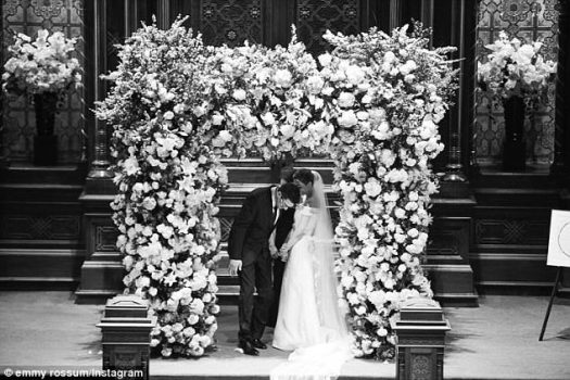 Blooming lovely: She explained she was celebrating the fifth anniversary of the day she met her now-husband by posting four gorgeous shots on her Instagram