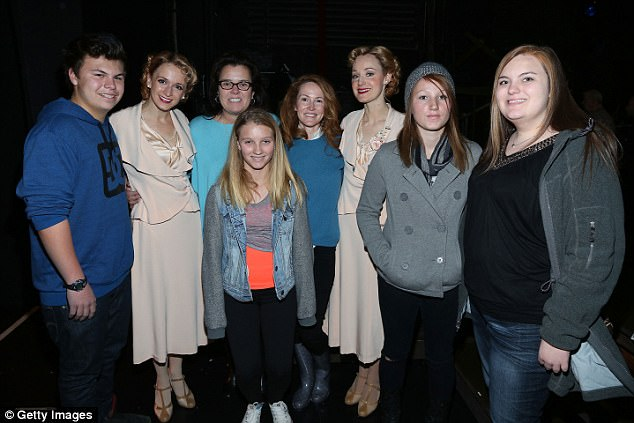 Tough time: Rounds previously attempted to commit suicide in 2015 with pills and wine, but was saved when a friend had security kick down the door to her hotel room (l to r: Blake, Vivienne, O'Donnell, Rounds, Chelsea and a friend at a Broadway show in 2014)