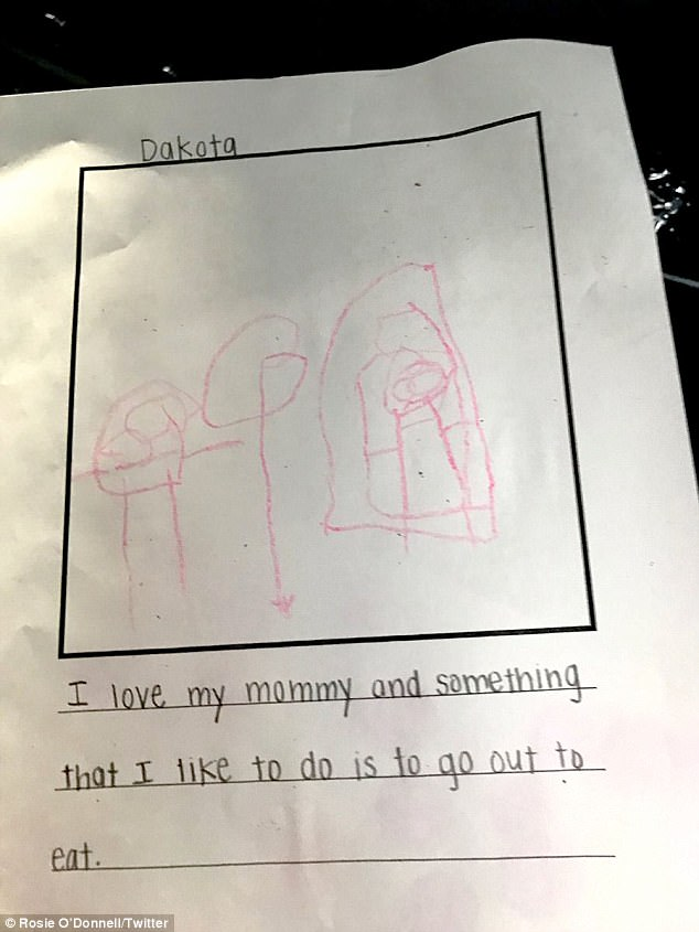 Tribute:O'Donnell also posted a drawing done by the couple's daughter Dakota on Friday in which the girl wrote about how much she loved her mother