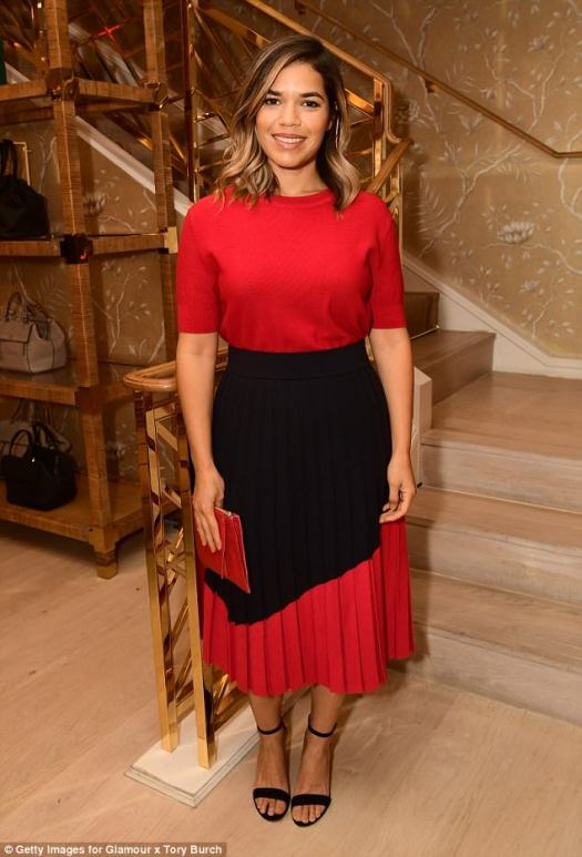 Striking: America Ferrera chose  bold red and black for her outfit