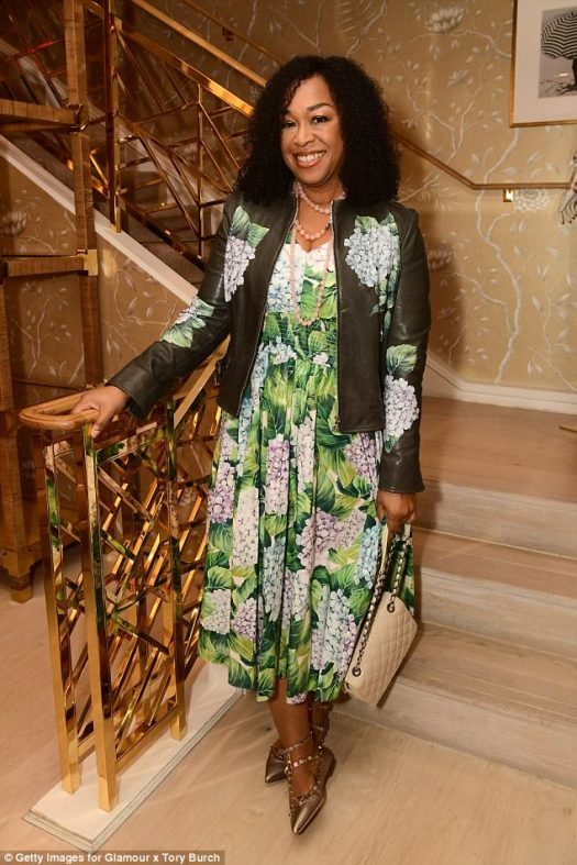 Blossoming: Shonda Rhimes sported a dress and jacket set with both featured floral detailing