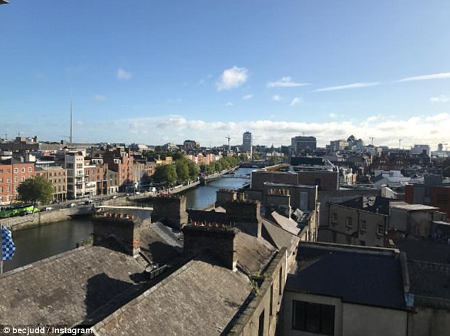 Her view: Bec took to Instagram to show her stunning hotel room views