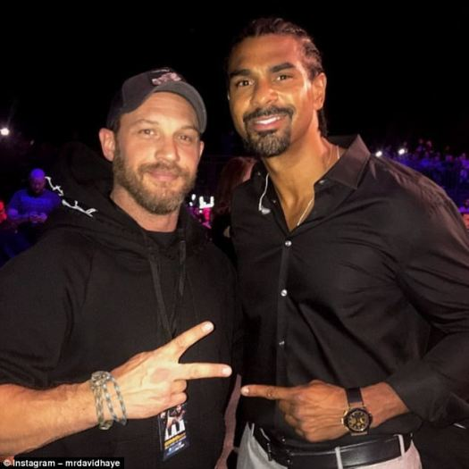David Haye met Tom Hardy on Friday  as the pair were at London's SSE Arena for BAMMA 31