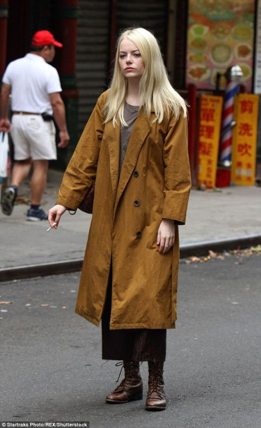 In the trenches: Here the Oscar winner is seen filming a scene for Maniac in New York City on August 15