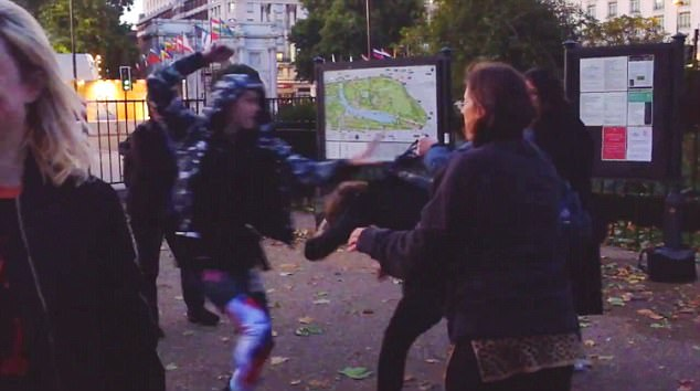 Gender warfare: A hoodie-wearing protester raises a fist during the brawl on September 13
