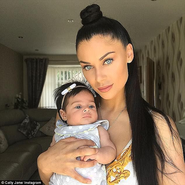 Yummy mummy: Cally, who welcomed her daughter Vienna into the world in May, split from her Love Island boyfriend Luis Morrison just two months later