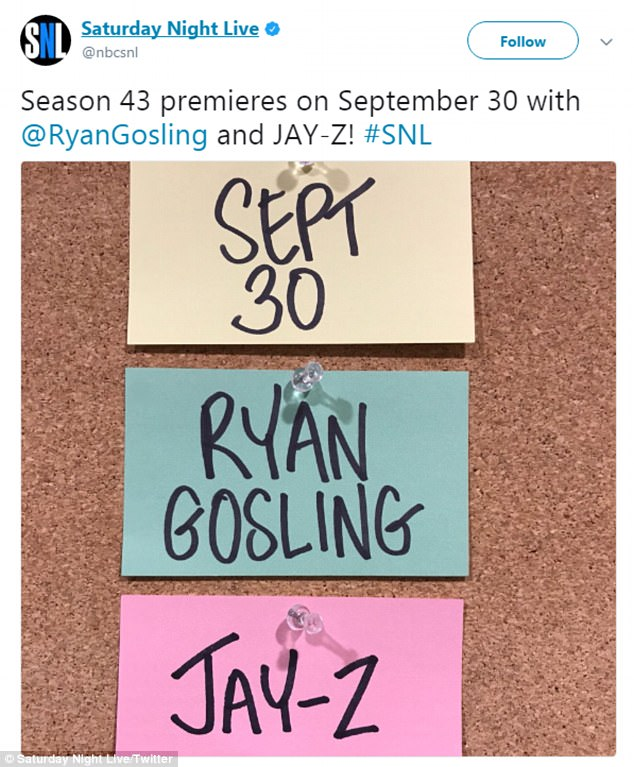 Live from New York! Meanwhile, Shookus will be hard at work on the 43rd season of the NBC sketch series, which premieres September 30 with host Ryan Gosling and musical guest Jay-Z