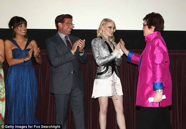 Here she comes: Billie joined the cast and crew on stage