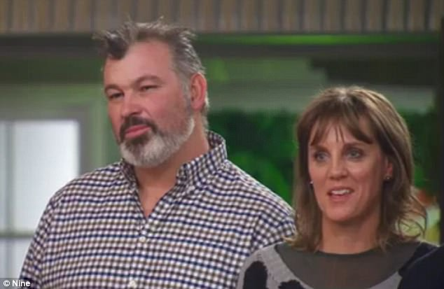 'The best Block comeback, ever!' Judge Neale Whitaker praises Jason and Sarah (seen) as they manage to stay on the show...after facing elimination for falling behind with renovations