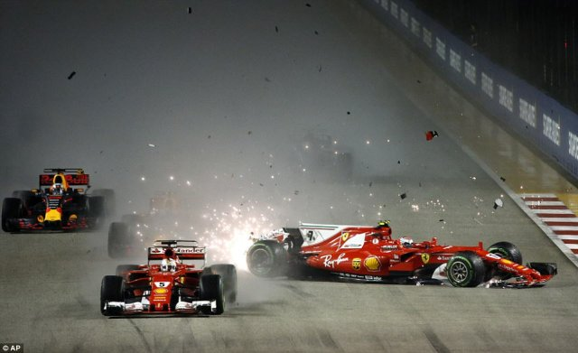 Vettel apologised to his Ferrari team-mate for the crash by radio message after trying to edge out Red Bull's Max Verstappen