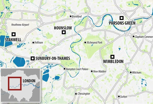 Sunbury-on-Thames is just a 37-minute train journey from Wimbledon station, where the tube that was bombed yesterday began its journey. A second man was arrested four miles away in Hounslow last night. Police said they were also searching a property in Stanwell