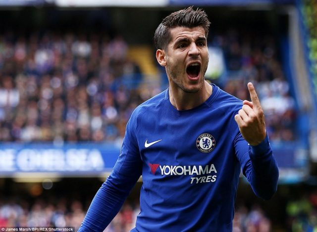 Alvaro Morata was arguably Chelsea's best player in the opening period, here he makes his feelings known to the linesman