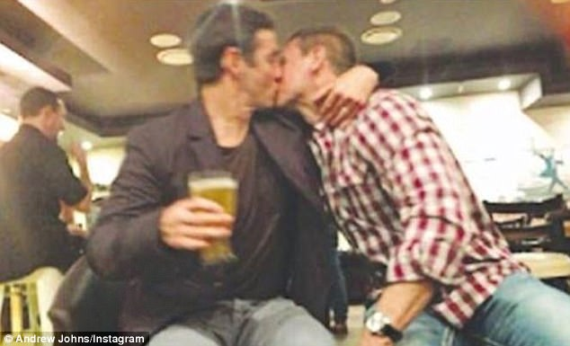Rugby legend Andrew Johns has declared his support for gay marriage in an Instagram post showing him kissing friend and teammate Bill Peden (pictured)