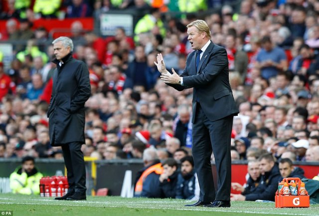 Everton manager Ronald Koeman instructs his players to press further forward as they looked to respond to the poor start