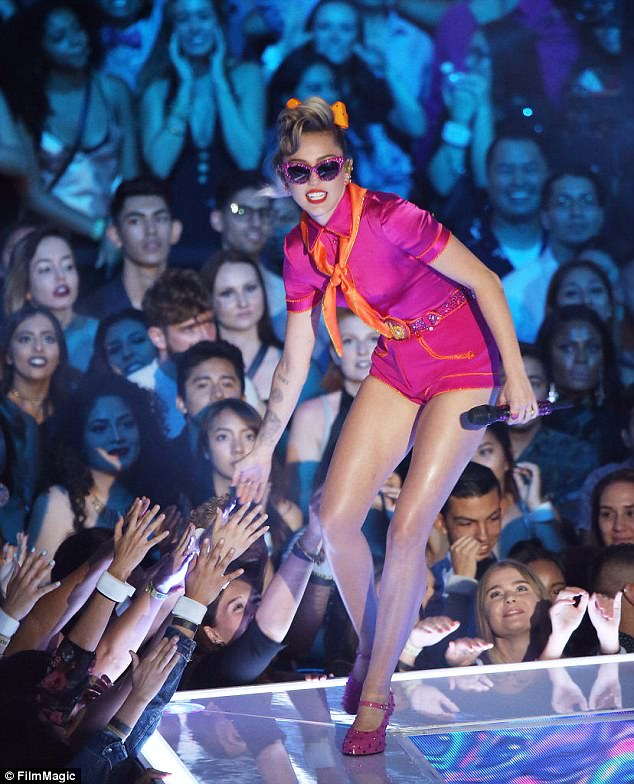 On stage: The stunner at the 2017 MTV Video Music Awards held at The Forum in August