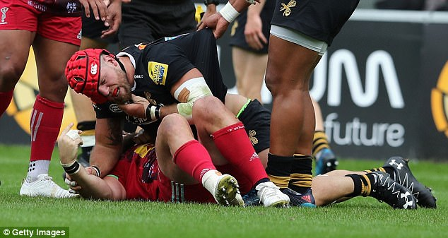 Haskell was left incensed when Marler pulled at him scrum cap causing this spat on the floor