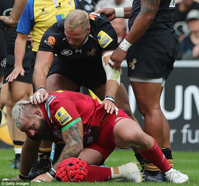 James Haskell (top) was involved in a skirmish with England team-mate Joe Marler on Sunday