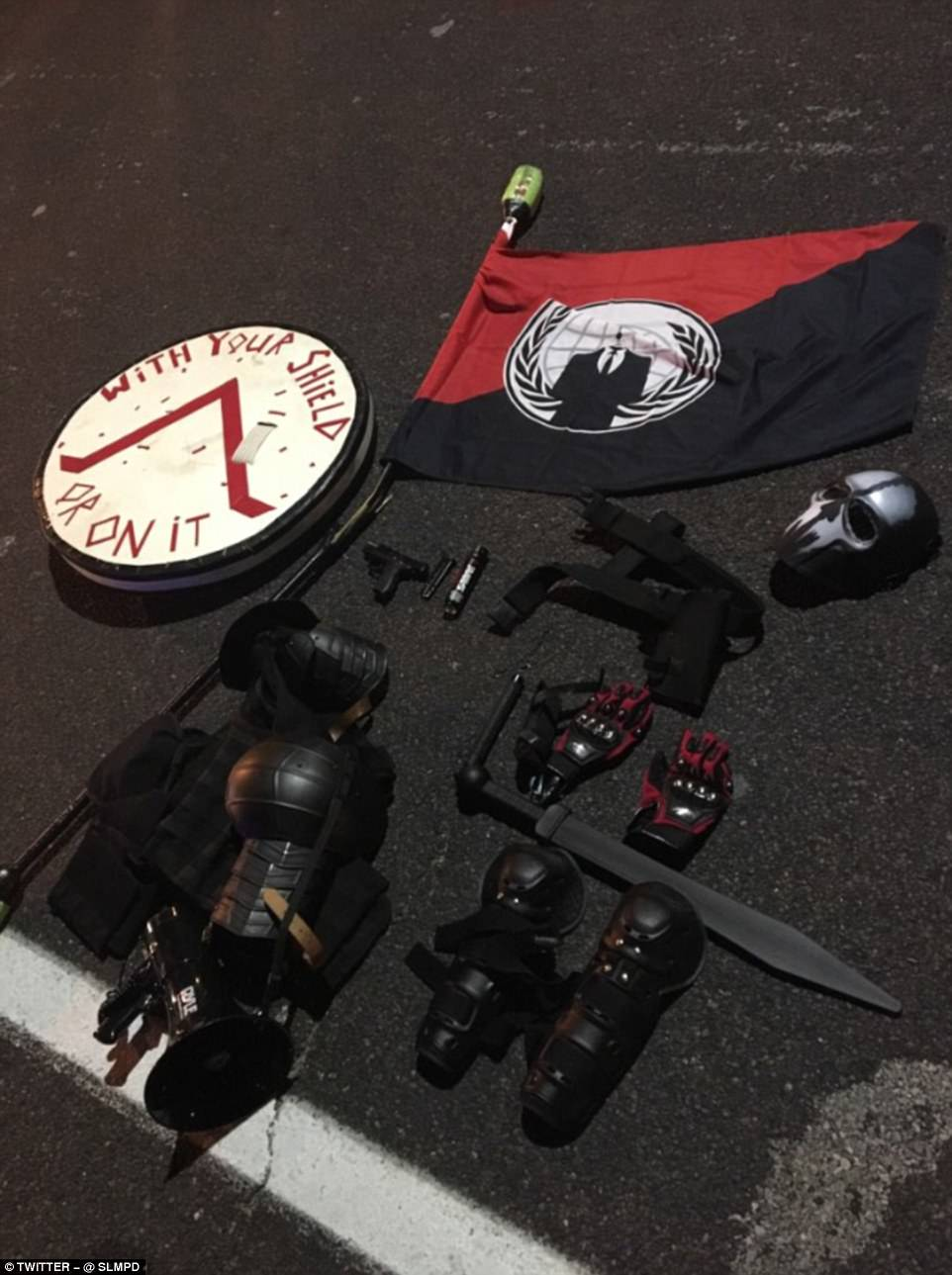 These are the items confiscated from the individual, who has not yet been named. Police said he was also taken into custody after the incident