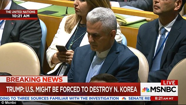 Listening intently: The Iranian representative kept his eyes down as Trump went for the jugular against the 'embarrassment' of the nuclear deal Obama negotiated