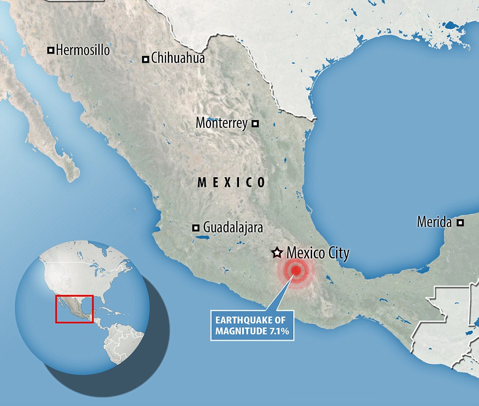 The earthquake struck 5 miles southeast of Atencingo in the central state of Puebla at a depth of 32 miles
